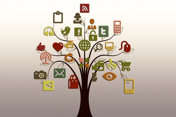 Social-Media-Symbole als Baum-Grafik.