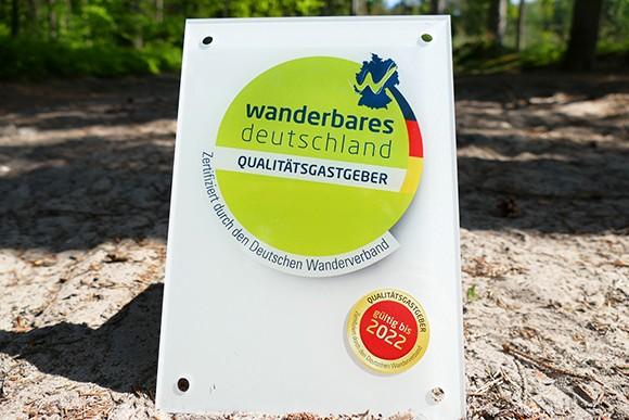 """Zertifikat """"Qualitätsgastgeber Wanderbares Deutschland"""""""
