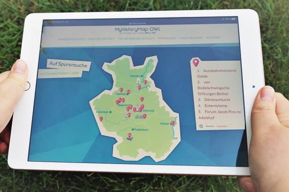 Website des History-Projektes auf einem Tablet