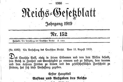 Abbildung des Reichsgesetzblattes von 1919