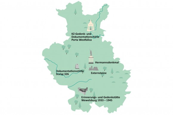Karte der Region Ostwestfalen-Lippe